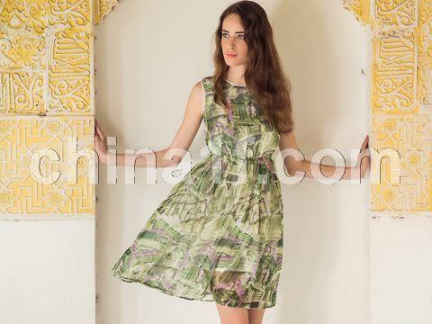 復古建筑印花連衣裙