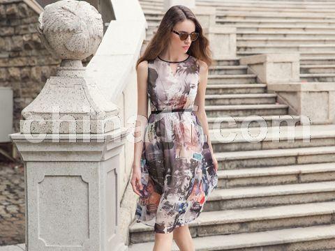 印花連衣裙