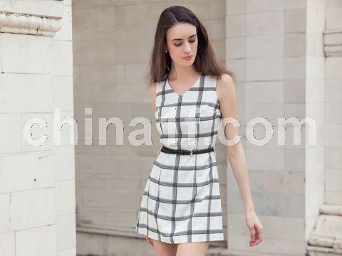 格紋氣質連衣裙