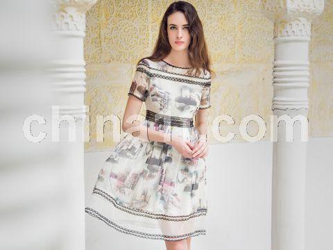 復古印花連衣裙