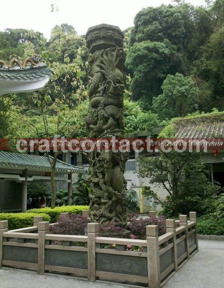公园石雕龙柱 青石雕刻龙柱 大理石龙柱